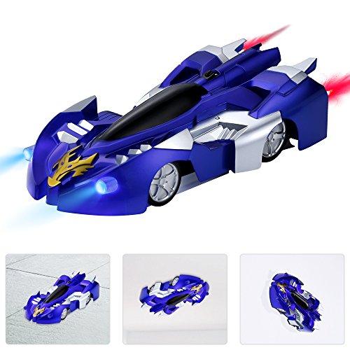 Ferngesteuert Autos mit Kletterwand Funktion - HEYSAMO Fernbedienung Dual Mode 360 ° Spielzeugauto Fahrzeug für Kinder 3 Jahre und Bis (Blau).