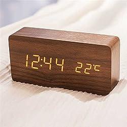Queta LED Réveil en Bois Numérique Réveil Bureau Date Température Affichage Humidité 12/24 Heure (Marron)