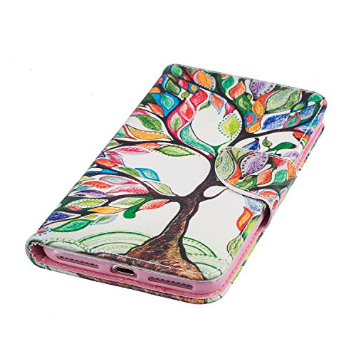 Etsue für iPhone 7 Plus Rose Blumen Ledertasche Lederhülle Flip Cover Case Muster, Bunte Retro Vintage Painted PU Leder Brieftasche Schutzhülle Tasche Wallet Case Handyhüllen Etui Schale im Bookstyle  Bunte Baum