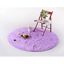 S&Y Cabello largo salón, dormitorio alfombra redonda silla giratoria Silla de ordenador acolchado, cojines, alfombra redonda (Color : Gris claro, Tamaño: 120 cm).