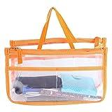 Ducomi Beauty Case Trasparente da Donna per Make Up - 28 x 16,5 x 10 cm - Trousse Impermeabile e da Viaggio - Busta per Borsa con 8 Tasche Capienti per Trucchi, Cosmetici e Accessori (Orange)