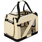 TecTake Cage sac box caisse de transport pour chien chat mobile M pliable beige 60x42x43cm