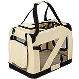TecTake Faltbare Hundetransportbox Transportbox beige 60x42x43cm