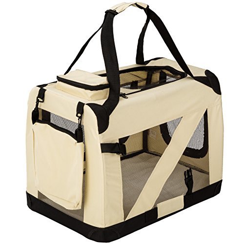 "TecTake Faltbare Hundetransportbox Transportbox beige 68 x 41 x 51 cm ""M"""