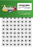 250 nummerierte Klebepunkte, 15 mm, transparent, aus PVC Folie, wetterfest, Markierungspunkte Kreise Punkte Zahlen Nummern Aufkleber
