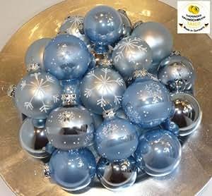 Tbs 733822 christbaumkugeln eisblau set 24 teilig - Weihnachtskugeln cappuccino ...