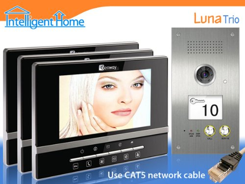 3-Monitor Video Door Entry System with LUNA monitors and Proximity Reader CAT5 series