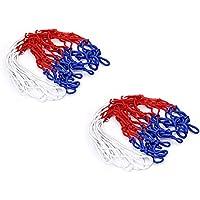 wdyjmall 2pcs 12Loops 48cm larga de nailon y polipropileno estándar canasta aro de baloncesto, color azul, rojo y blanco