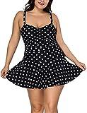 FeelinGirl Mujer Tankini Talla Grande Traje de Baño con Pantalón Corto Negro-Lunar XXL