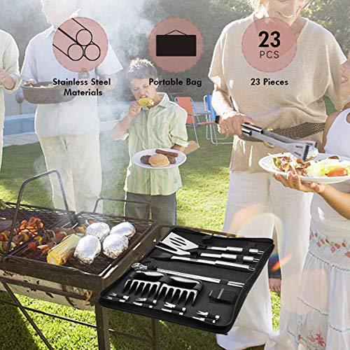 51IGQY3t3NL - JOLVVN Grillbesteck Set 23er Bestecksets BBQ Grillzubehör, Barbecue Sets Grillen Werkzeuge Koffer aus Edelstahl Ideal für Outdoor Picknick Familien Garten Party (23er Grillbesteck)