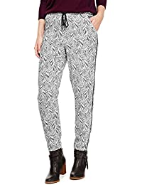 273e9a5fea7 Marks and Spencer Feather Print Tapered Leg Soft Relaxed Fit Trousers  Drawstring Pull on Womens M S