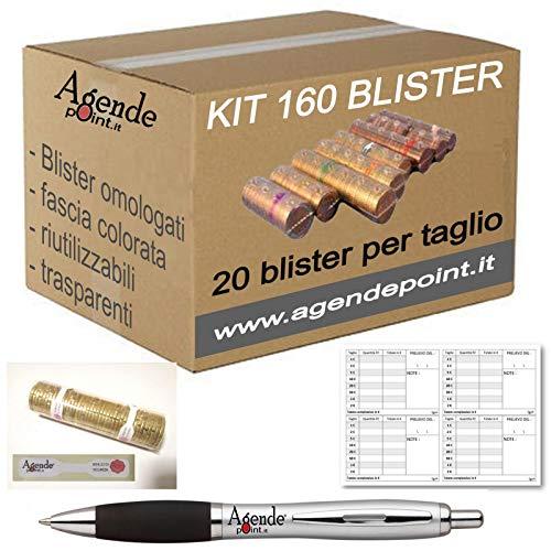 Blister contenitori per monete Euro 160 pezzi assortiti (20 pezzi per taglio) con mastrino, sigilli e penna