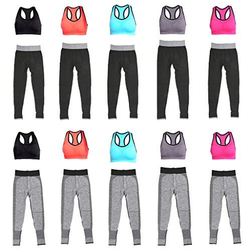 MagiDeal 2pz Bra Top Gilet Canotte Reggiseno Di Yoga con Leggings Ghette Pantaloni Fitness Palestra Sportivo per Donna Nero