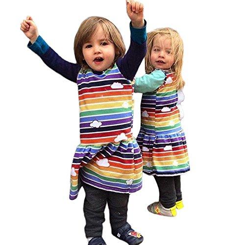 Lucky Mall Mädchen Farbe Streifen Cartoon Dinosaurier Kleid, Kleinkind Baby Print 3D Rückenflosse Outfits Sleeveless Kilt 12M-5T (Stecker Steckdose-kostüm Und)