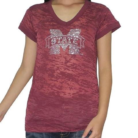 NCAA Mississippi State Bulldogs femmes Vintage Look Rhinestones Tee Large Red