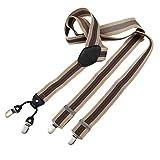 DonDon® Herren Hosenträger breit 4 Clips mit Leder in Y-Form – elastisch und längenverstellbar beige grün rot