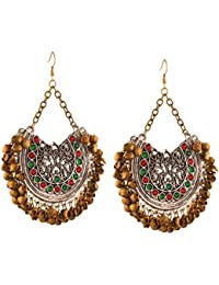 Zephyrr Fashion Oxidized Silver Afghani Tribal Dangler Hook Chandbali Earrings For Womens