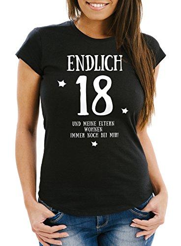 MoonWorks Damen T-Shirt Endlich 18 und Meine Eltern wohnen immernoch Bei Mir Geschenk Zum 18. Geburtstag Slim Fit Schwarz M
