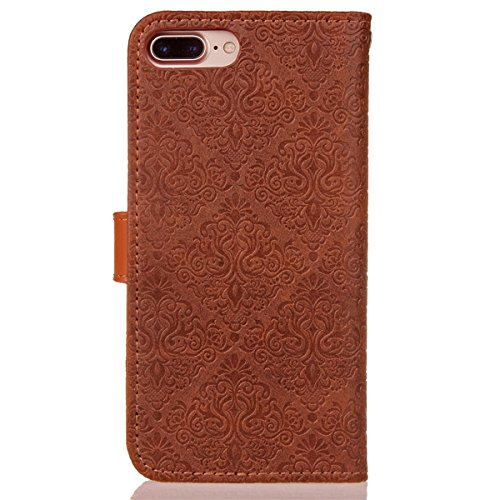 Custodia iPhone 7/8 plus,Case Cover per iPhone 7/8 plus, Ukayfe Luxury Puro Colore Modello Goffratura Murale Continental Cristallo 3D Design Bumper Slim Folio Protectiva Lussuosa Retro Custodia Cover  Murale Marrone scuro