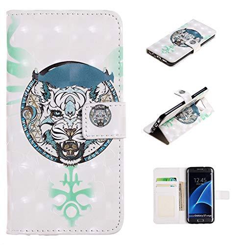 HopMore Compatibile con Cover Samsung Galaxy S7 Edge Silicone Morbido con Pelle PU Design Antiurto Custodia Modello Portafoglio Protettiva Flip Magnetico Case Lether Protettivao - Animale Fresco