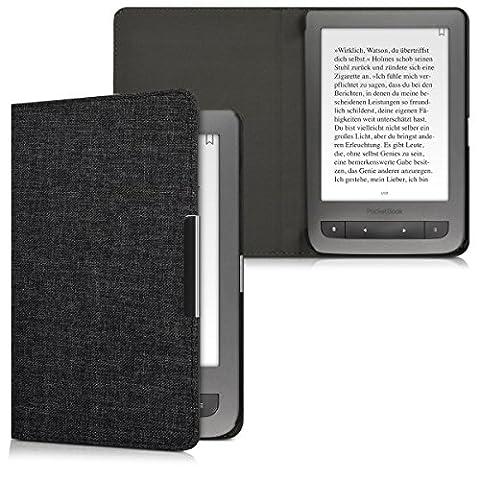 kwmobile Housse Flip pour Pocketbook Touch Lux 3 / Touch Lux 2 / Basic Lux / Basic 3 / Basic Touch 2 - Housse de protection pour E-Book avec motif Design Toile en gris foncé