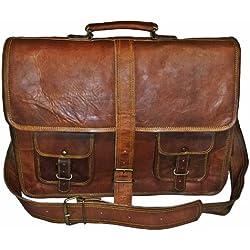 True Grit Executive Blairzy - Maletín para portátil (piel, con asa para llevar cruzado Marrón marrón 16 Inch (40.64 CM)