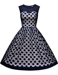 Miusol Damen Knielang Abendkleid Retro 50er Rockabilly kleid Cocktail Ballkleid Blau Schwarz Gr.36-46