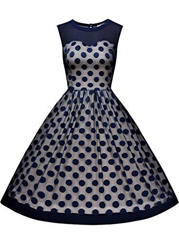 Miusol Knielang Vintage Abendkleid Retro 50er Rockabilly kleid Cocktail Ballkleid Blau