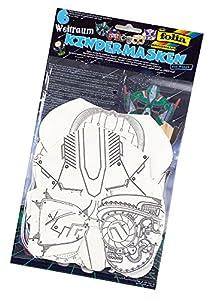 folia 23249-Niños Máscaras Espacial 6Unidades en 6Motivos Surtidos, Color Blanco