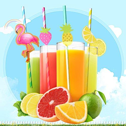 iianischer Trinkhalme aus Papier Trinkhalme Deko Luau Party Party Dekoration Tisch BBQ Thema (Flamenco Dekoration Hawaii + Erdbeere + Ananas + Zitrone) ()