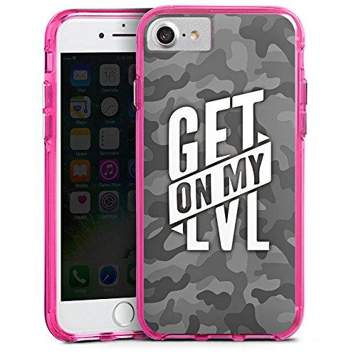 Apple iPhone 8 Hülle Premium Case Cover Montanablack Fanartikel Merchandise Get On My Level Gray Bumper Case transparent pink