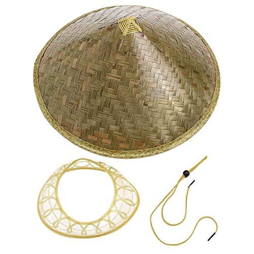 Wenwenzui-ES Chinesischer orientalischer Coolie Sun Hut gestrichener Bambus-Strohhut-Tourismus-Regen-Kappen-konischer Landwirt-Unisexfischereis-Hut
