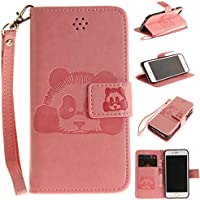iPhone 8 Case, SUPREDE®[Lovely Panda] iPhone 8 Wallet leather Flip Cover Case. [Fashion] [Cute] [Stand Function/ Card Slot / Magnetic Closure / Colourful] Premium PU Leather Flip Folio Wallet Cover Case for Apple iPhone 8 - Pink