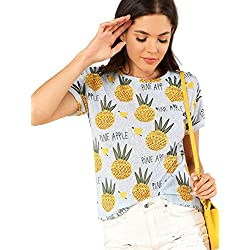 SOLY HUX Mujer Camiseta con Estampado de Piña, Azul S