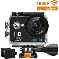 Mbylxk Action Cam 1080P HD 12 MP 170°Ultra-Weitwinkel, WIFI 2,0 Zoll, Wasserdicht mit kostenlosem Accessories-Kit (schwarz)