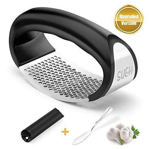 SueH Design Knoblauchpresse aus Edelstahl | All-in-One Knoblauch-Werkzeugset mit Edelstahl-Reinigungsschaber und Silikon-Knoblauchschäler