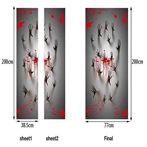Transwen Halloween Halloween Deko, Spukhaus Dekoration Fenster Tür Abdeckung Zombie Hände Grusel Dekoration Set 78X30 Zoll für Halloween Party (Mehrfarbig)