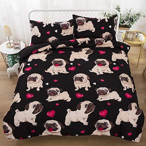 3D bedruckter schwarzer Hund und rote Liebe Bettbezug-Set, Cartoon Tiere weiche Mikrofaser-Bettwäscheset für Kinder Mädchen Bett-Set Dekorative 3 Stück 2 Kissenbezügen Keine Tröster 230x220cm - 2 Stück Tröster