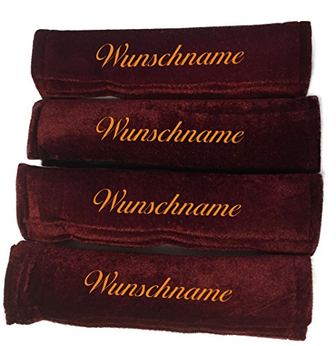 Preisvergleich Produktbild Gurtpolster bordeaux rot Gurtschoner mit Name bestickt Stickerei Velour Klettverschluss Wunschtext (4)