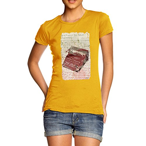 Book Print Typewriter Women's Yellow T-Shirt