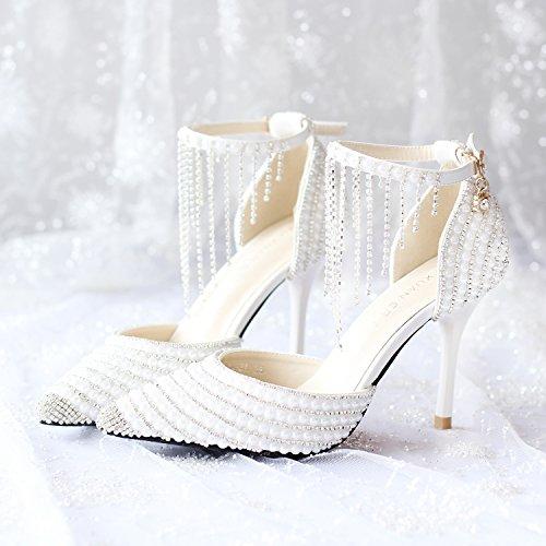 Si Hochzeitsschuhe der Frauen / Brautjungfer und Braut / Strass Tassel / Stiletto Ferse / Spitzzehe / High-heels...