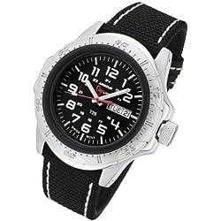 Armourlite AL47-KBW Men's Professional Black Dial Black Kevlar Fabric Strap Green Tritium Fill Dive Watch