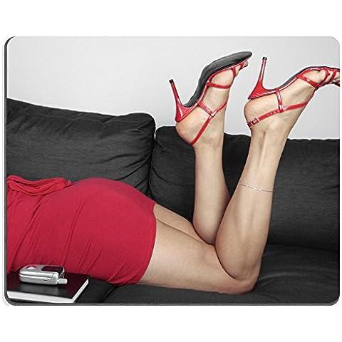 luxlady Gaming Mousepad Mujer Hermosa Piernas Relajante con vestido rojo y el talón imagen ID 8205130