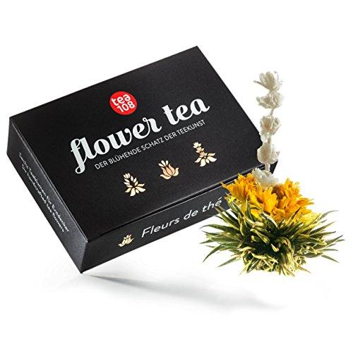 Teeblumen Geschenkset – Tee Geschenk aus 6 edlen Teerosen - Grüner Tee kunstvoll gebundenen mit...