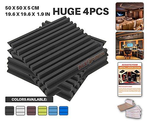 Ace Punch 4 Pezzi NERO Metro a Strisce Schiuma Acustica Pannello Isolamento Acustico Diffusore Acustici Parete Fai da te con Free Montaggio Schede 50 x 50 x 5 cm AP1041