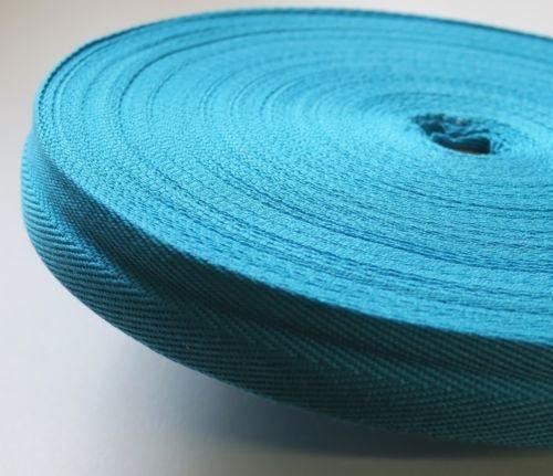 KRAFTZ® Baumwoll-Schrägband, 25mm x 50m Rolle, für Bastelarbeiten, Wimpelketten, Näharbeiten, Drillich-Borte mit Fischgrätenstich türkis
