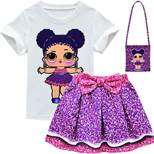 Kostüm Girl Little Best - QYS Baby Cute Dolls Konfetti Pop Tshirt + Rock + Tasche für Mädchen Lil Outrageous Little Girl Dress,Suit,120cm