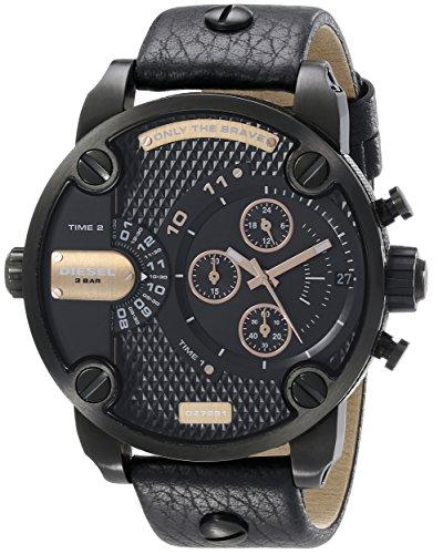 Diesel  Little Daddy - Reloj de cuarzo para hombre, con correa de cuero, color negro