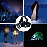 Canwelum Wiederaufladbare Cree LED Stirnlampe zum Joggen, Camping (Komplett-Set mit 2 x 18650 Li-Ionen-Batterien und 1 x Euro Ladegerät) -