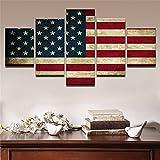 Rjjrr Canvas Hd Print Poster Home Wall Art Pictures Framework 5 Piezas Vintage Rústico Bandera Americana Pintura Modular Living Room Decor Dormitorio Decor 150x80cm
